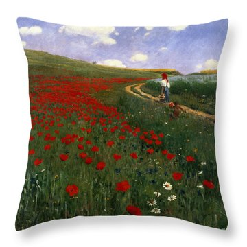The Poppy Field Throw Pillow by Pal Szinyei Merse