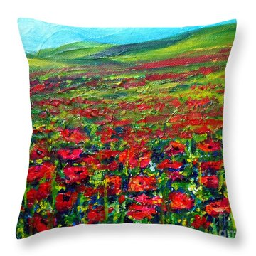 The Poppy Fields Throw Pillow