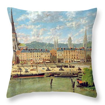 The Port At Rouen Throw Pillow by Torello Ancillotti