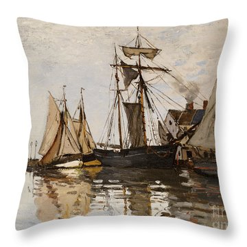 The Port Of Honfleur Throw Pillow by Claude Monet