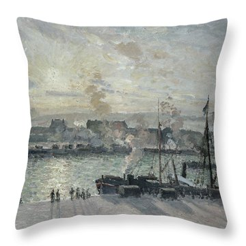 The Port Of Rouen Throw Pillow by Camille Pissarro