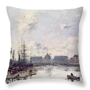 The Port Of Trade Throw Pillow by Eugene Louis Boudin