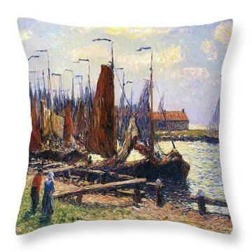 The Port Of Volendam Throw Pillow by Henry Moret