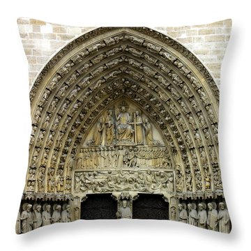 The Portal Of The Last Judgement Of Notre Dame De Paris Throw Pillow