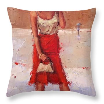 Throw Pillow featuring the painting The Pose by Laura Lee Zanghetti