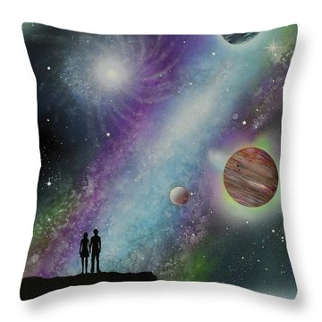 Throw Pillow featuring the painting The Possibilities by Mary Scott