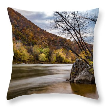 The Potomac In Autumn Throw Pillow by Ed Clark