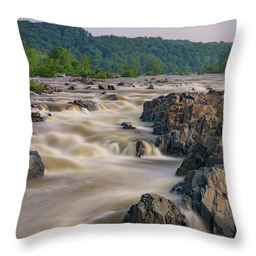 The Potomac River At Great Falls Throw Pillow