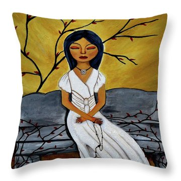 The Power Of The Rosary Religious Art By Saribelle Throw Pillow by Saribelle Rodriguez
