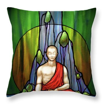 The Praying Monk Throw Pillow
