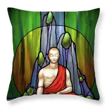The Praying Monk Throw Pillow