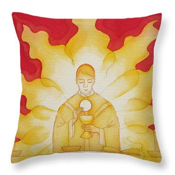 The Presence Of Jesus Christ In The Holy Eucharist Throw Pillow
