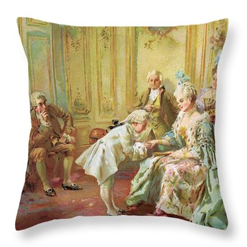 The Presentation Of The Young Mozart To Mme De Pompadour At Versailles Throw Pillow by Vicente de Parades