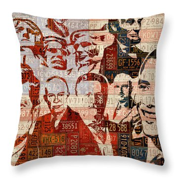 The Presidents Past Recycled Vintage License Plate Art Collage Throw Pillow by Design Turnpike