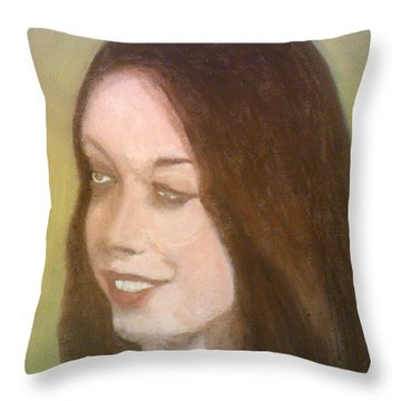 The Pretty Brunette Throw Pillow