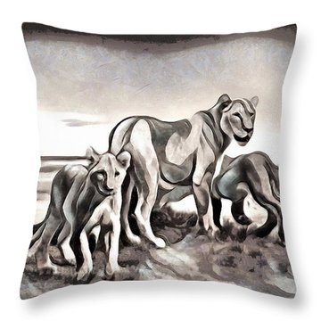 Throw Pillow featuring the digital art The Pride by Pennie McCracken