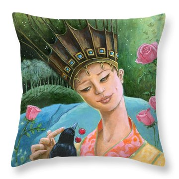 The Princess And The Crow Throw Pillow by Terry Webb Harshman