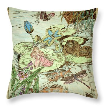 The Princess And The Frogs Throw Pillow