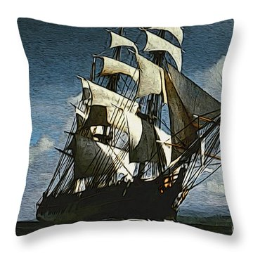 The Privateer Off Tortuga Throw Pillow