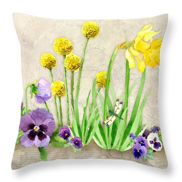 The Promise Of Spring - Dragonfly Throw Pillow by Audrey Jeanne Roberts