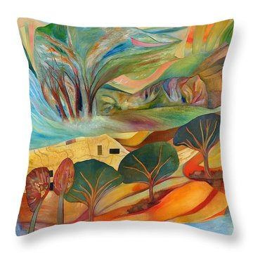 Throw Pillow featuring the painting The Promised Land by Linda Cull