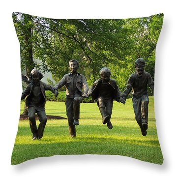 The Puddle Jumpers At Byers Choice Throw Pillow by Trish Tritz