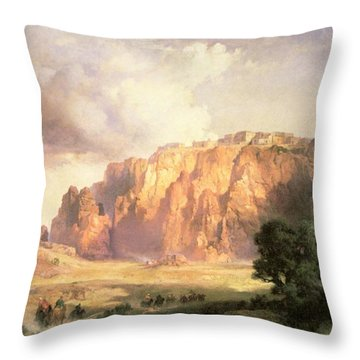 The Pueblo Of Acoma In New Mexico Throw Pillow by Thomas Moran