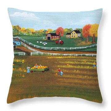 Throw Pillow featuring the painting The Pumpkin Patch by Virginia Coyle