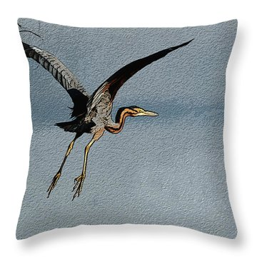 The Purple Heron Throw Pillow