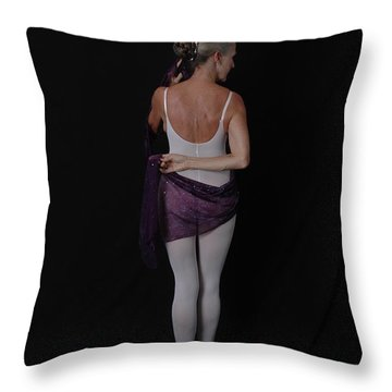 Throw Pillow featuring the photograph The Purple Scarf by Nancy Taylor