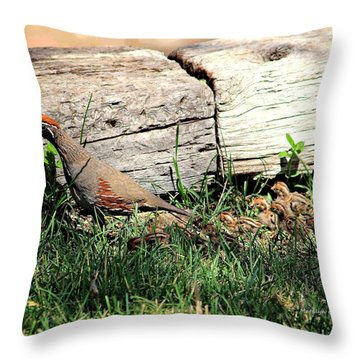 The Quail Family Throw Pillow