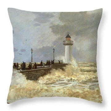 The Quay At Le Havre Throw Pillow