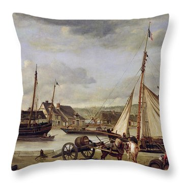 The Quay At Rouen Throw Pillow by Jean Baptiste Camille Corot