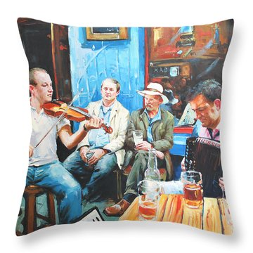 The Quay Players Throw Pillow by Conor McGuire