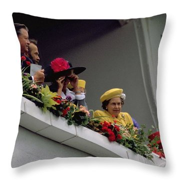 The Queen At Derby Day 1988 Throw Pillow