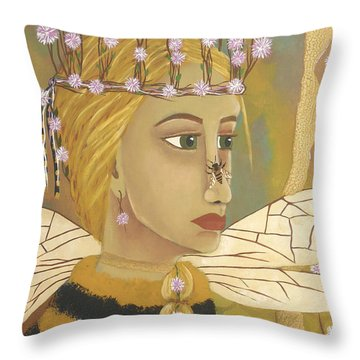 The Queen Bee's Honeycomb Throw Pillow