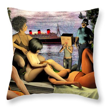 The Queen Mary Is Haunted Throw Pillow