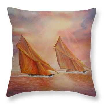 Throw Pillow featuring the painting The Race by Beatrice Cloake