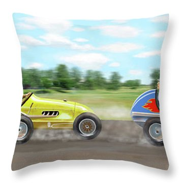 Throw Pillow featuring the digital art The Racers by Gary Giacomelli