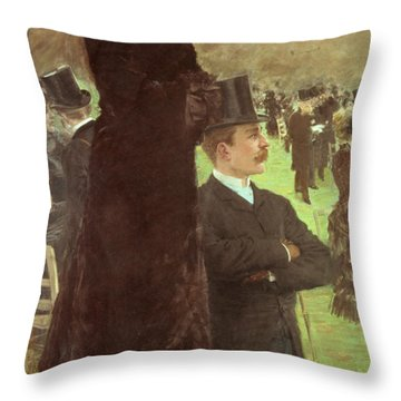 The Races At Auteuil Throw Pillow
