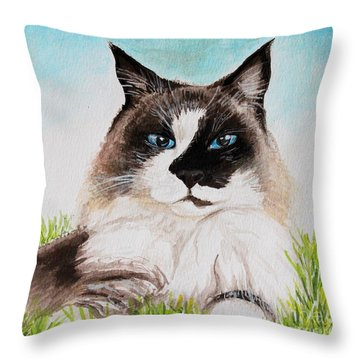 Throw Pillow featuring the painting The Ragdoll by Elizabeth Robinette Tyndall