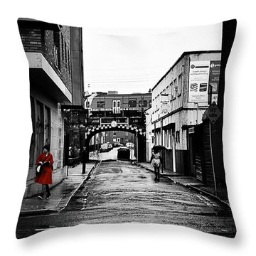 The Rail And The Red Raincoat Throw Pillow