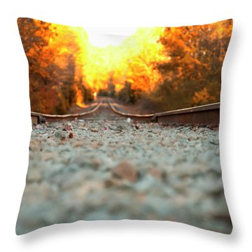 Throw Pillow featuring the digital art The Railroad Tracks From A New Perspective by Chris Flees