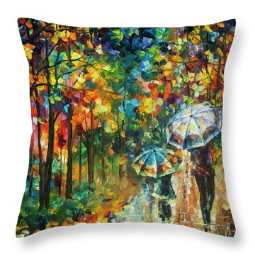 The Rain Of Childhood Throw Pillow by Leonid Afremov