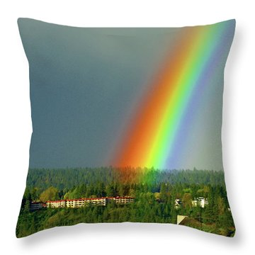 Throw Pillow featuring the photograph The Rainbow Apartments by Ben Upham III