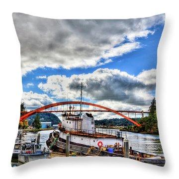 The Rainbow Bridge - Laconner Washington Throw Pillow by David Patterson