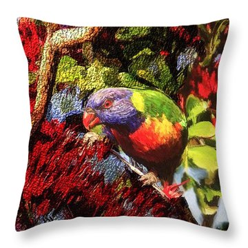 The Rainbow Lorikeet Throw Pillow