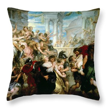 The Rape Of The Sabine Women Throw Pillow by Peter Paul Rubens