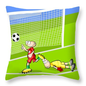 The Rapid Soccer Player Pointer Wins The Goalkeeper And Scores A Goal On The Opposing Fence Throw Pillow