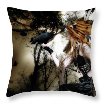 The Raven Throw Pillow by Shanina Conway